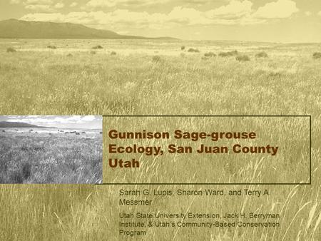 Gunnison Sage-grouse Ecology, San Juan County Utah Sarah G. Lupis, Sharon Ward, and Terry A. Messmer Utah State University Extension, Jack H. Berryman.