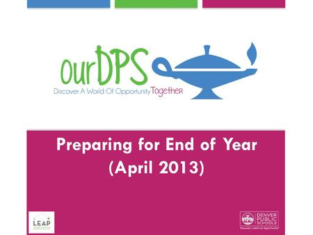 Preparing for End of Year (April 2013). School leaders will: Practice scoring Professionalism Understand the EOY Data Reports Understand available support.