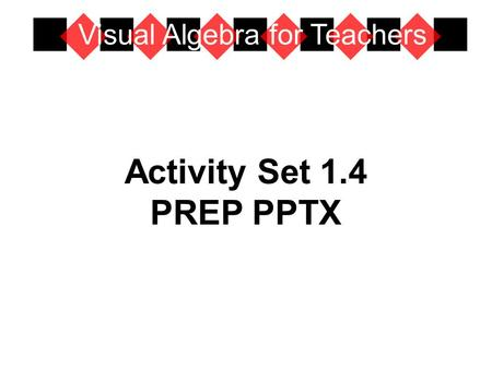 Activity Set 1.4 PREP PPTX Visual Algebra for Teachers.