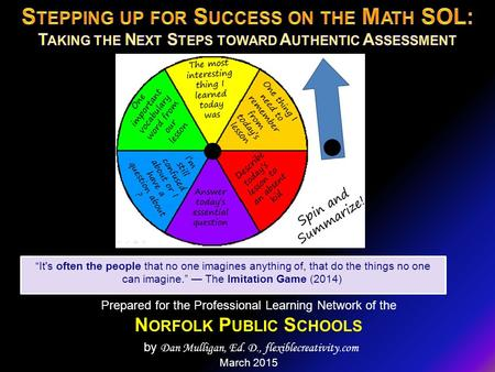 "Prepared for the Professional Learning Network of the N ORFOLK P UBLIC S CHOOLS by Dan Mulligan, Ed. D., flexiblecreativity.com March 2015 ""It's often."
