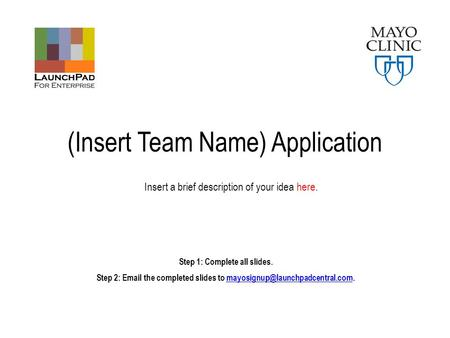 (Insert Team Name) Application Step 1: Complete all slides. Step 2:  the completed slides to