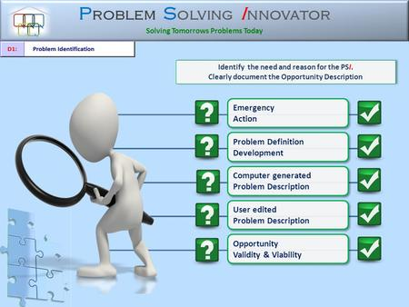 P roblem S olving I nnovator Solving Tomorrows Problems Today Identify the need and reason for the PSI. Clearly document the Opportunity Description Identify.