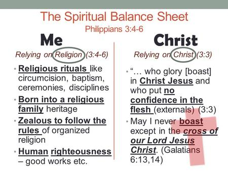 The Spiritual Balance Sheet Philippians 3:4-6 Relying on Religion (3:4-6) Religious rituals like circumcision, baptism, ceremonies, disciplines Born into.