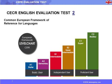 © 2014 wheresjenny.com CEFR EVALUATION TEST CECR ENGLISH EVALUATION TEST 2 Common European Framework of Reference for Languages.