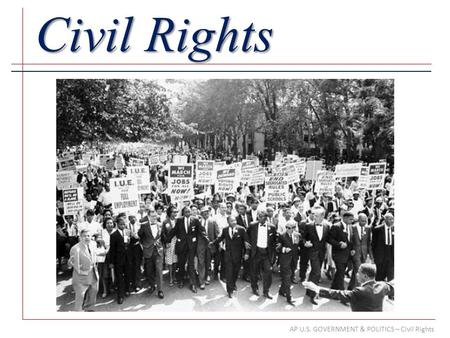 AP U.S. GOVERNMENT & POLITICS – Civil Rights Civil Rights.