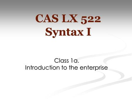 Class 1a. Introduction to the enterprise