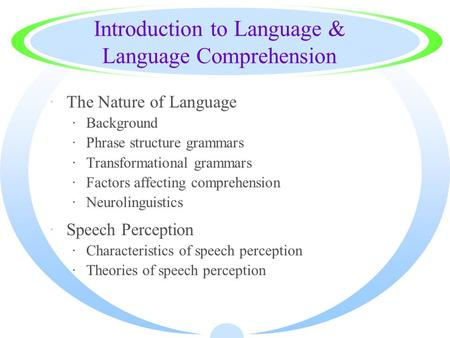 Introduction to Language & Language Comprehension ·The Nature of Language ·Background ·Phrase structure grammars ·Transformational grammars ·Factors affecting.