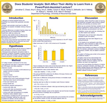 Introduction Although an industry-standard lecture aid, PowerPoint has received little systematic controlled research. 1 A recent, well-controlled study.
