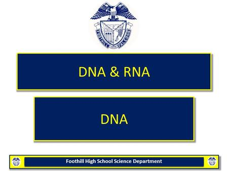 Foothill High School Science Department DNA & RNA DNA.