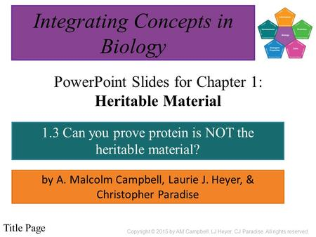 PowerPoint Slides for Chapter 1: Heritable Material by A. Malcolm Campbell, Laurie J. Heyer, & Christopher Paradise 1.3 Can you prove protein is NOT the.