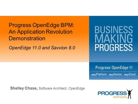 Progress OpenEdge BPM: An Application Revolution Demonstration OpenEdge 11.0 and Savvion 8.0 Shelley Chase, Software Architect, OpenEdge.