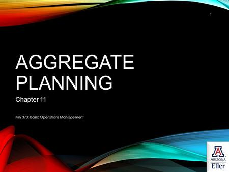 Aggregate Planning Chapter 11 MIS 373: Basic Operations Management.