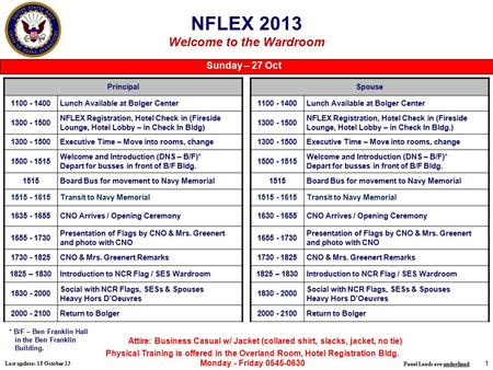 1 NFLEX 2013 Welcome to the Wardroom Principal 1100 - 1400Lunch Available at Bolger Center 1300 - 1500 NFLEX Registration, Hotel Check in (Fireside Lounge,