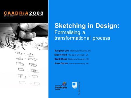 Sketching in Design: Formalising a transformational process Sketching in Design: Formalising a transformational process Sungwoo Lim Strathclyde University,