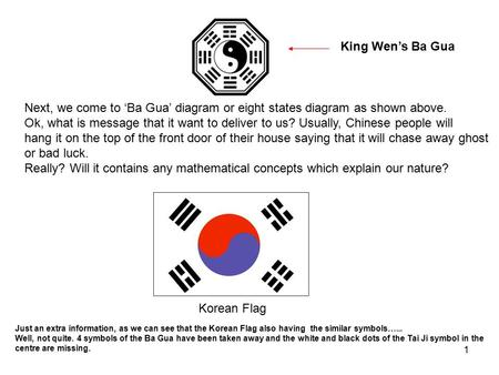 King Wen's Ba Gua Next, we come to 'Ba Gua' diagram or eight states diagram as shown above. Ok, what is message that it want to deliver to us? Usually,