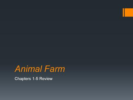 Animal Farm Chapters 1-5 Review. Question  Who does Old Major parallel in Russian history?