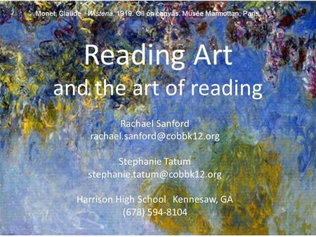 Reading Art and the art of reading