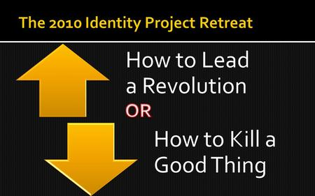 How to Lead a Revolution How to Kill a Good Thing.