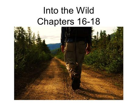 Into the Wild Chapters 16-18. Free Write In a 5-minute free-write response, respond to this quote from chapter 17 (p. 184): McCandless wasn't some feckless.