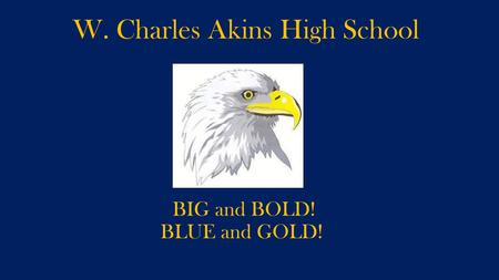 W. Charles Akins High School BIG and BOLD! BLUE and GOLD!