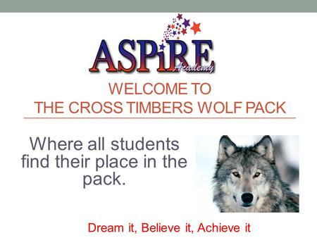 WELCOME TO THE CROSS TIMBERS WOLF PACK Where all students find their place in the pack. Dream it, Believe it, Achieve it.