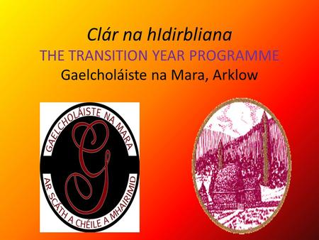 Clár na hIdirbliana THE TRANSITION YEAR PROGRAMME Gaelcholáiste na Mara, Arklow.