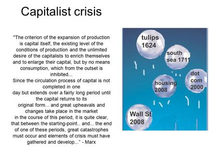 Capitalist crisis The criterion of the expansion of production is capital itself, the existing level of the conditions of production and the unlimited.