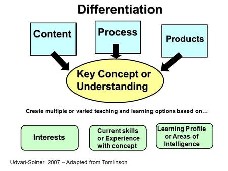 Create multiple or varied teaching and learning options based on… Interests Current skills or Experience with concept Learning Profile or Areas of Intelligence.