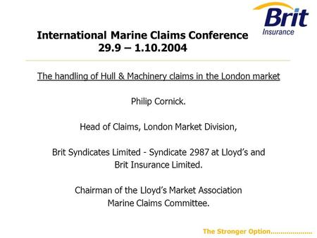 International Marine Claims Conference 29.9 –