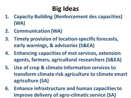 Big Ideas 1.Capacity Building (Renforcement des capacities) (WA) 2.Communication (WA) 3.Timely provision of location-specific forecasts, early warnings,