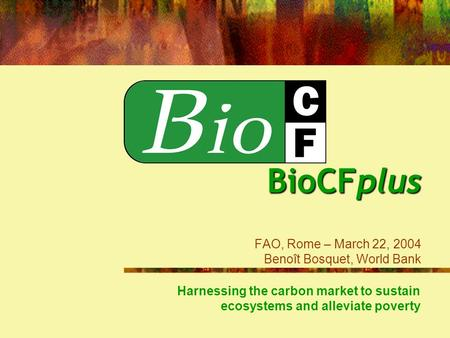 BioCFplus BioCFplus FAO, Rome – March 22, 2004 Benoît Bosquet, World Bank Harnessing the carbon market to sustain ecosystems and alleviate poverty.