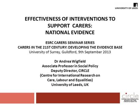 EFFECTIVENESS OF INTERVENTIONS TO SUPPORT CARERS: NATIONAL EVIDENCE ESRC CARERS SEMINAR SERIES CARERS IN THE 21ST CENTURY: DEVELOPING THE EVIDENCE BASE.