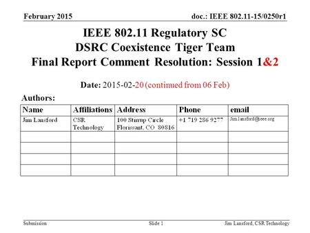 Doc.: IEEE 802.11-15/0250r1 Submission February 2015 Jim Lansford, CSR TechnologySlide 1 IEEE 802.11 Regulatory SC DSRC Coexistence Tiger Team Final Report.