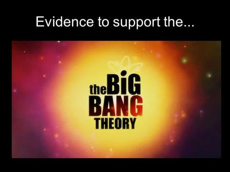 "Evidence to support the.... But first, what's a scientific theory? The term ""theory"" in science has a different meaning than in our everyday language."