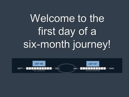 Welcome to the first day of a six-month journey!.