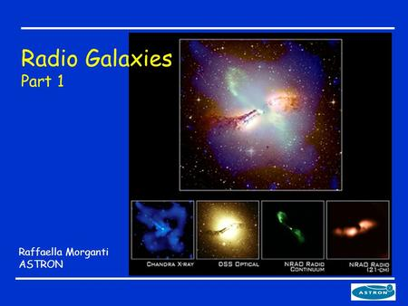 Raffaella Morganti ASTRON Radio Galaxies Part 1. The plan 1.What are AGNs and radio galaxies - How to find them A prototype radio galaxy - Emission mechanisms.
