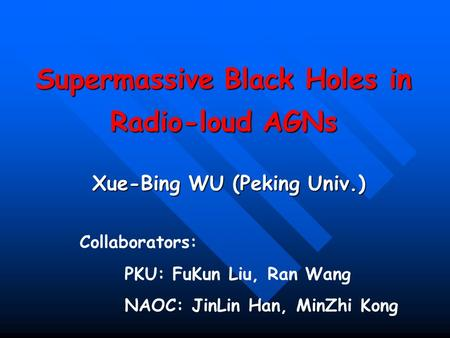 Supermassive Black Holes in Radio-loud AGNs