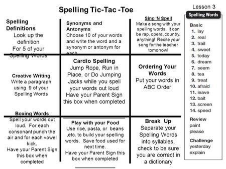 Spelling Tic-Tac -Toe Lesson 3 Spelling Definitions