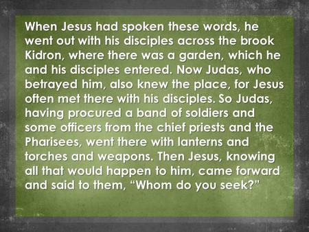 When Jesus had spoken these words, he went out with his disciples across the brook Kidron, where there was a garden, which he and his disciples entered.