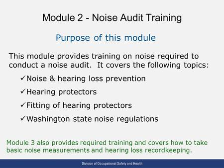 Module 2 - Noise Audit Training
