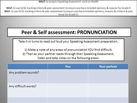 Peer & Self assessment: PRONUNCIATION YouYour partner Any problem sounds? Any difficult words? Take it in turns to read out loud your Speaking Assessment.