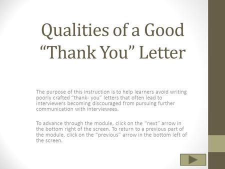 "Qualities of a Good ""Thank You"" Letter"