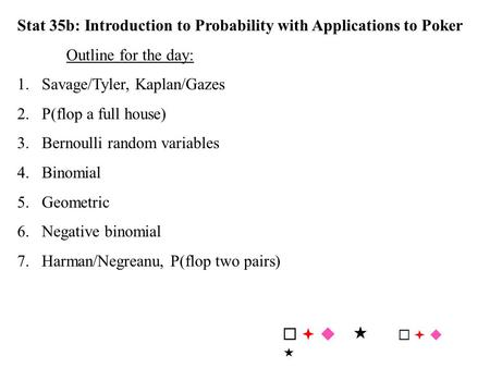 Stat 35b: Introduction to Probability with Applications to Poker Outline for the day: 1.Savage/Tyler, Kaplan/Gazes 2.P(flop a full house) 3.Bernoulli random.