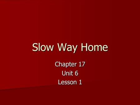 Slow Way Home Chapter 17 Unit 6 Lesson 1. Sunshine State Standard LA.910.4.2.2 The student will record information and ideas from primary and/or secondary.