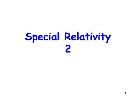 1 Special Relativity 2. 2 Topics l Recap l Length Contraction l Cosmic Ray Muons l Spacetime l Summary.