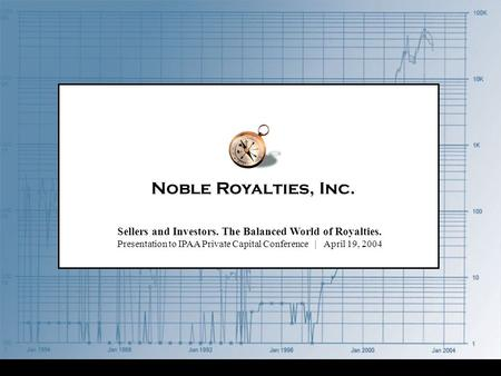 Noble Royalties, Inc. Sellers and Investors. The Balanced World of Royalties. Presentation to IPAA Private Capital Conference | April 19, 2004.