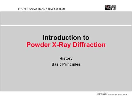 Introduction to Powder X-Ray Diffraction