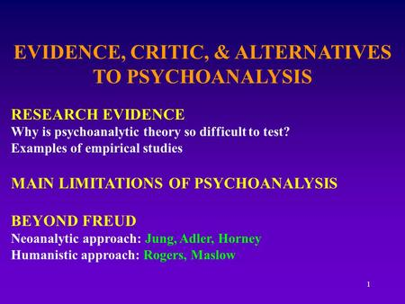 1 EVIDENCE, CRITIC, & ALTERNATIVES TO PSYCHOANALYSIS RESEARCH EVIDENCE Why is psychoanalytic theory so difficult to test? Examples of empirical studies.