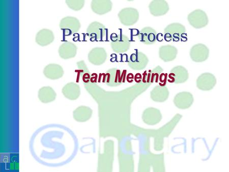 Parallel Process and Team Meetings. Parallel The organization is a living, growing, changing system with its own unique biology. It is therefore every.