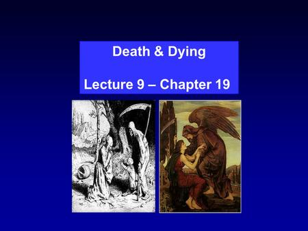 "Death & Dying Lecture 9 – Chapter 19. ""I don't mind dying, I just don't want to be there when it happens."" Woody Allen."
